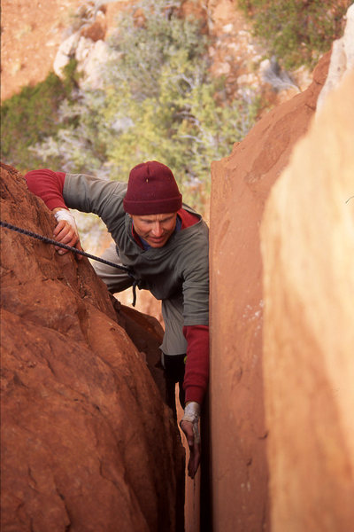 Rock Climbing Photo: Doug Biber at the wide crack above the roof on the...