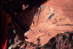 Rock Climbing Photo: Looking down from the lip of the overhang in the p...