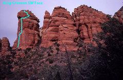 Rock Climbing Photo: Photo topo of the Southwest Face of King Crimson.