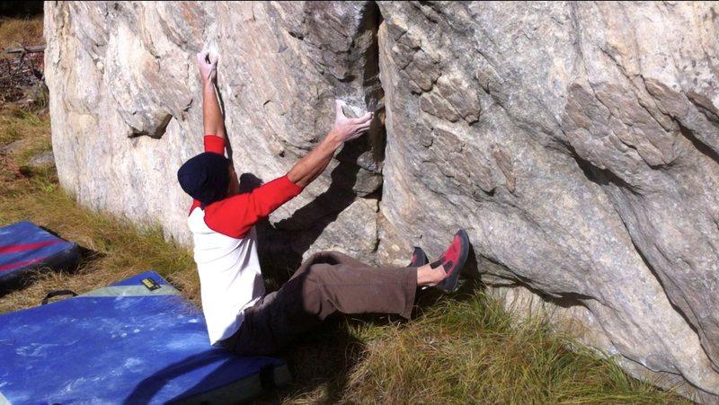 Rock Climbing Photo: Pi on the start holds