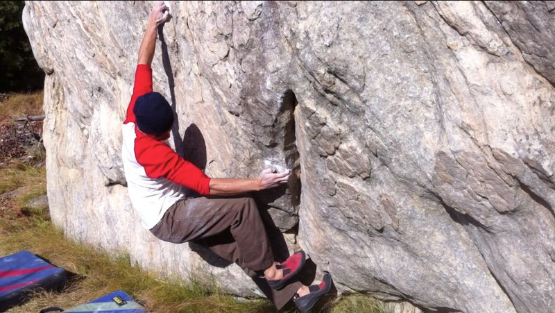 Rock Climbing Photo: Pi repositioning feet after getting the good left ...