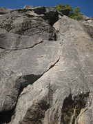 Rock Climbing Photo: The thin crack at the beginning of the Regular Rou...