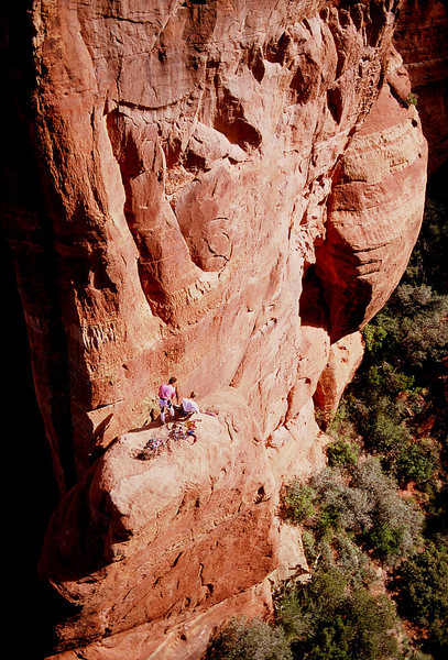 Rock Climbing Photo: Scott Baxter and Al Doty on the ledge at the end o...