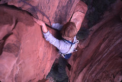 Rock Climbing Photo: Tim Coats topping out on the second pitch hand cra...