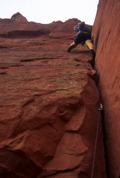 Rock Climbing Photo: Tomas on the second pitch, which features surprisi...
