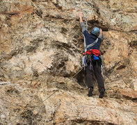 Rock Climbing Photo: Walt at the fourth bolt of Shadow and Flame.  Phot...