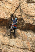 Rock Climbing Photo: Walt starting the roof on Shadow and Flame.  Photo...