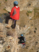 Rock Climbing Photo: Walt belaying as Tom tops out on Shadow and Flame.