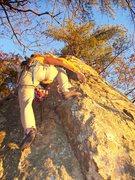 Rock Climbing Photo: Fuzzy soloing near the start.