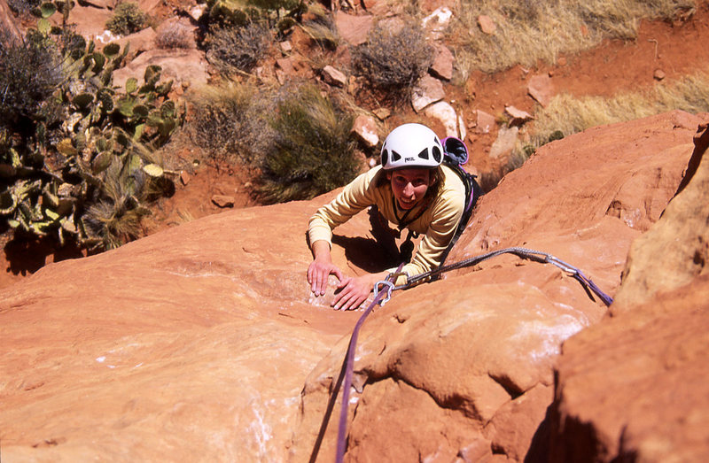 Rock Climbing Photo: Heather Songster follows the pitch- really, does t...