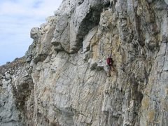 Rock Climbing Photo: The climb finishes by traversing leftwards across ...