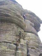 Rock Climbing Photo: Trying to start the final section on a cold day (p...