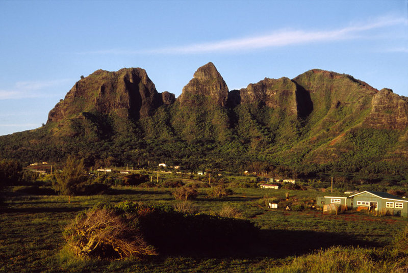 View of Kalalea Mountain (Kong) from Anahola. Its the peak in the center that resembles the face of King Kong.