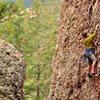 My mom enjoying the climbing despite a very cool day. October 2010.