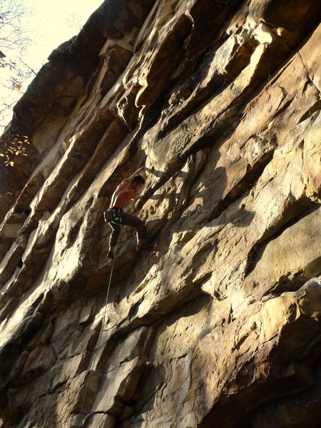 Jeremy Steck, heading into the traverse sequence on Go Cat Go!