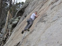 Rock Climbing Photo: Ian shimmying up between the first and second bolt...
