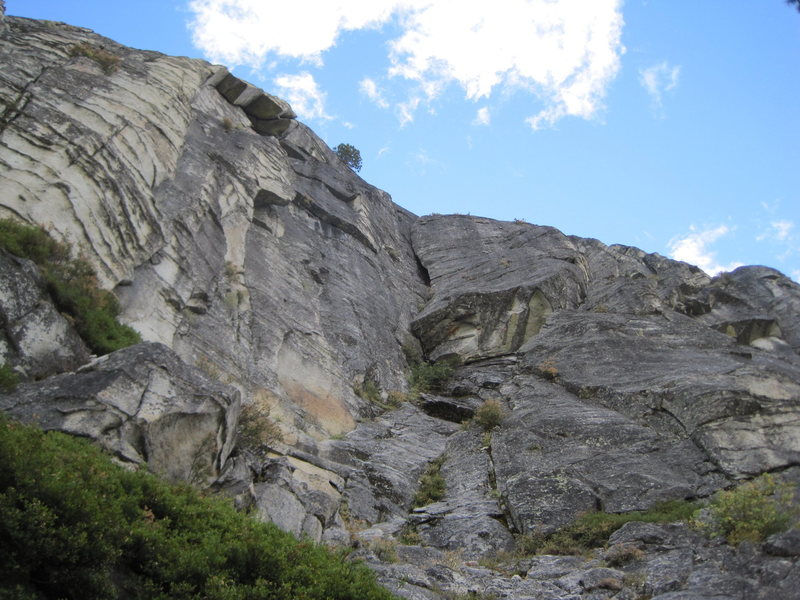 The Banana route ascends the left side (center of picture) of the huge banana shaped formation.