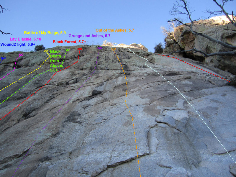 Rock Climbing Photo: Topo of the right (easier) side of the wall.