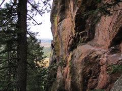 Rock Climbing Photo: CT working beta on The Shaft. Kudos to Pinklebear ...