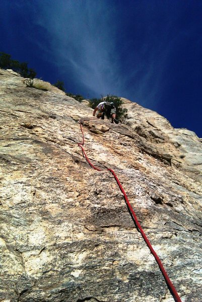 Rock Climbing Photo: Pitch 2.  Robert cruising past the two bolts and o...