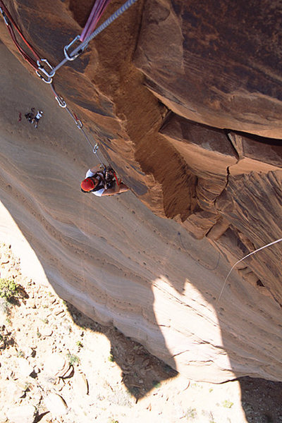 This is looking down from the first belay station on speak no Evil.  Its actually the Widen-Plvan variation just to the left of the first pitch of speak no evil.  I highly recommend this start.  I did this route back in 04 or 05 and it was a blast.  I would like to do it again.