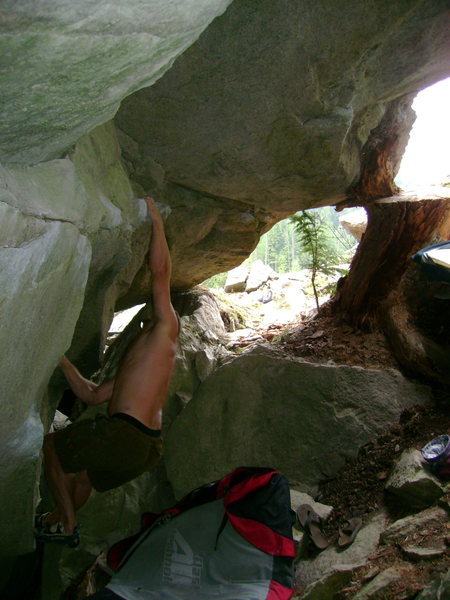 Rock Climbing Photo: Nate one move into the start