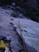 Rock Climbing Photo: looking down pitch 3's beautiful flake
