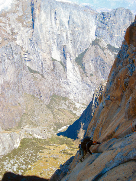 Andrew on the upper pitches.  Torres de Paron in the background.