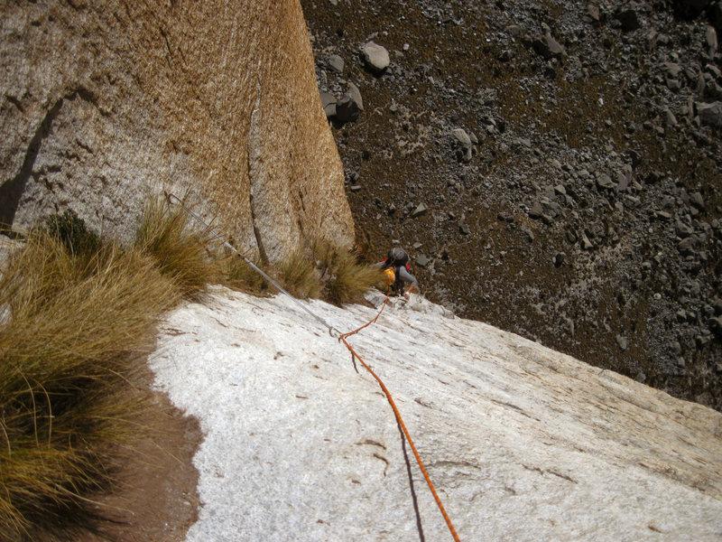Rock Climbing Photo: Andrew climbs through grassy cracks on the blob pi...