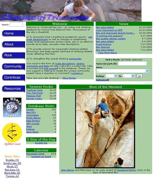 "Screen shot of old ""climbingjtree.com"" home page as it looked in 2002. Seems like a long time ago!"