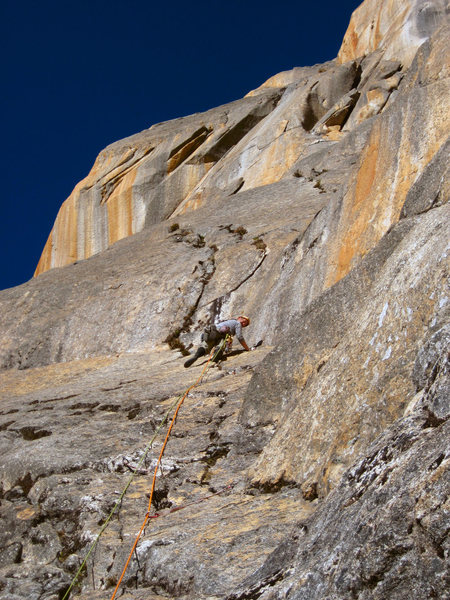 Rock Climbing Photo: Clipping old bolts on the third pitch.  The 4th an...