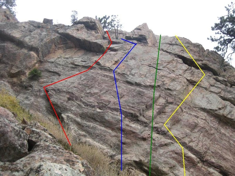 Red - Uninspiring Wall, 5.5.<br> Blue - Rupee Dog Route, 5.8.<br> Green - Heva, 5.9.<br> Yellow - Low Profile, 5.7+.