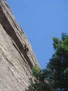 Rock Climbing Photo: Lee pulling through the roof.