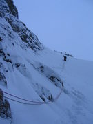 Rock Climbing Photo: Deep, steep, scary snow while turning the Pencil. ...