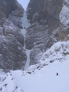 Rock Climbing Photo: Traversing the snow basin to the base of the upper...