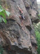Rock Climbing Photo: Nan on the lower section of Batso Canal.