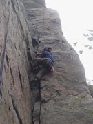 Rock Climbing Photo: Myong workin' the crack.