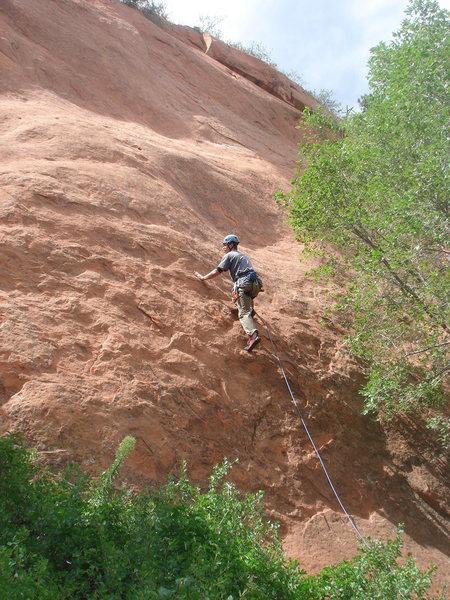 Rock Climbing Photo: Brian Rowe starting up Tava.
