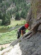 Rock Climbing Photo: Myong finishing up Stone Age.