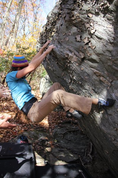 Rock Climbing Photo: Erica on the FA of Bear Paws (right heel is on the...