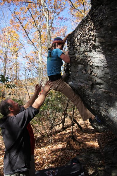 Rock Climbing Photo: Erica topping out on Bear Paws