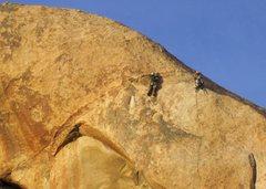 Rock Climbing Photo: John and Diana on the finish to Swept Away.  photo...