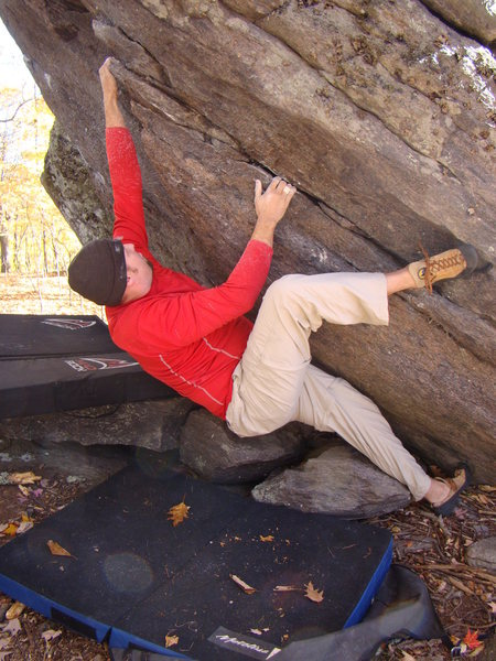 Rock Climbing Photo: Steve heel hooking
