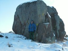 Rock Climbing Photo: Another view of the north boulder and the 3 proble...