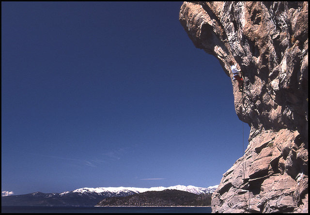 Rock Climbing Photo: Over The Falls, Cave Rock, now closed. Photo by Bl...