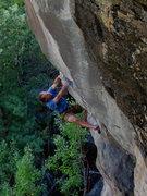 Rock Climbing Photo: Dan Schwarz onsighting Chasing Dragons .12-, Flags...