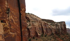 Rock Climbing Photo: Greg on Blue Sun 5.10, Way Rambo Wall, Indian Cree...