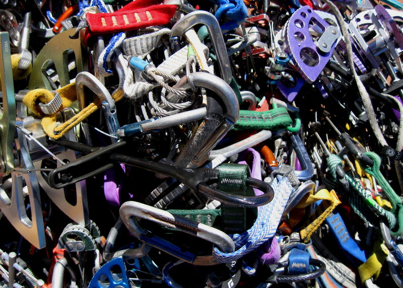 Piles of gear.