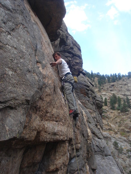 On the crux of the first pitch.
