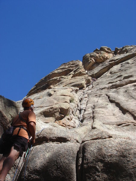 Nan leading Staircase, Dave with the belay.